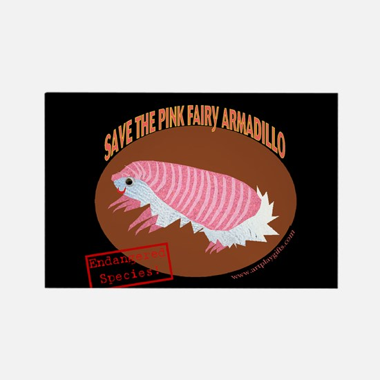 Save the Pink Fairy Armadillo Rectangle Magnet (1