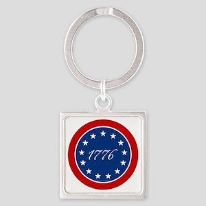 btn-patriot-1776-13stars Square Keychain