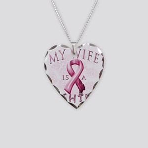 My Wife is a Fighter Pink Necklace Heart Charm