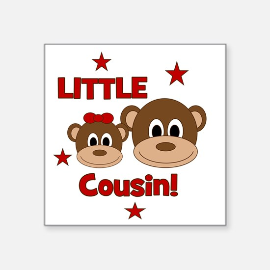 "Monkey_LittleCousin_girl Square Sticker 3"" x 3"""