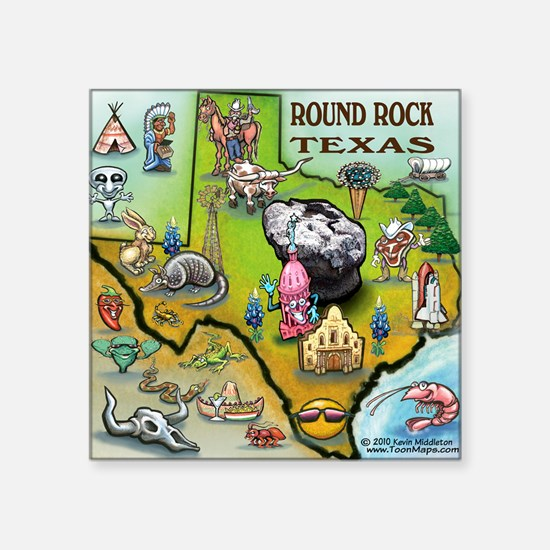 "Round Rock TEXAS Map CP Tee Square Sticker 3"" x 3"""