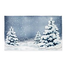 Cute Snowy Pine Trees Area Rug