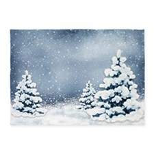 Cute Snowy Pine Trees 5'x7'area Rug