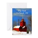 Big Red Lighthouse, Holl Greeting Cards (Pk of 20)