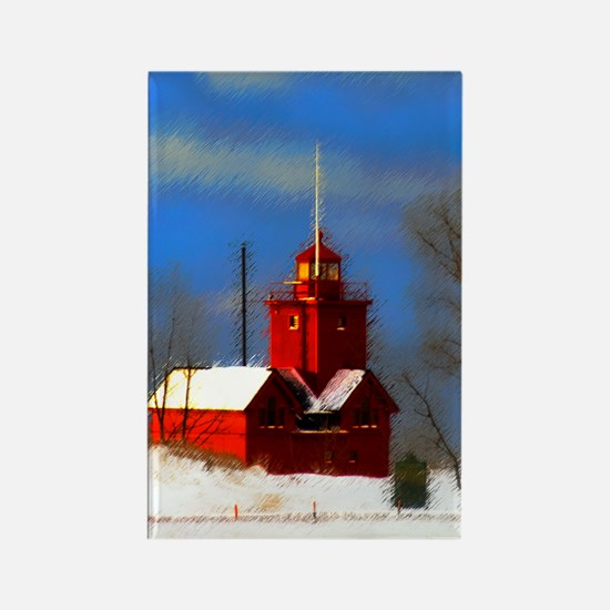 Big Red Lighthouse, Holland, MI Rectangle Magnet
