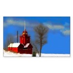 Big Red Lighthouse, Holland, M Sticker (Rectangle)