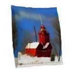 Big Red Lighthouse, Holland, M Burlap Throw Pillow