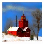 Big Red Lighthouse, Holl Square Car Magnet 3
