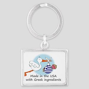 stork baby greece 2 Landscape Keychain