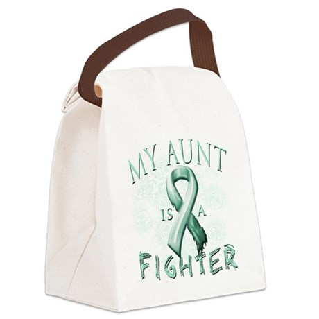 My Aunt is a Fighter Teal Canvas Lunch Bag