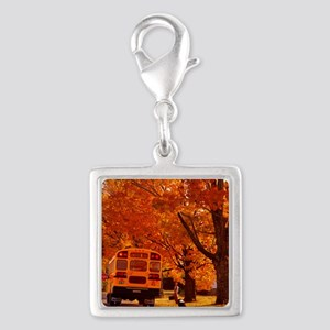School Days Silver Square Charm