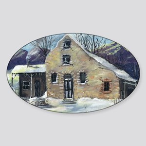 old stone house h Sticker (Oval)