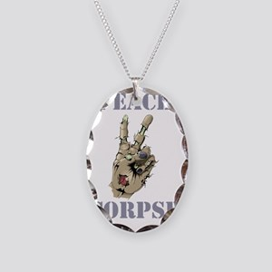 peace corpse Necklace Oval Charm