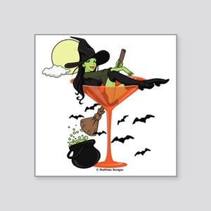 "Halloween Martini Square Sticker 3"" x 3"""