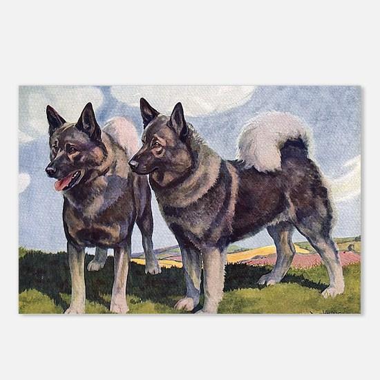 FIN-norwegian-elkhound-GR Postcards (Package of 8)