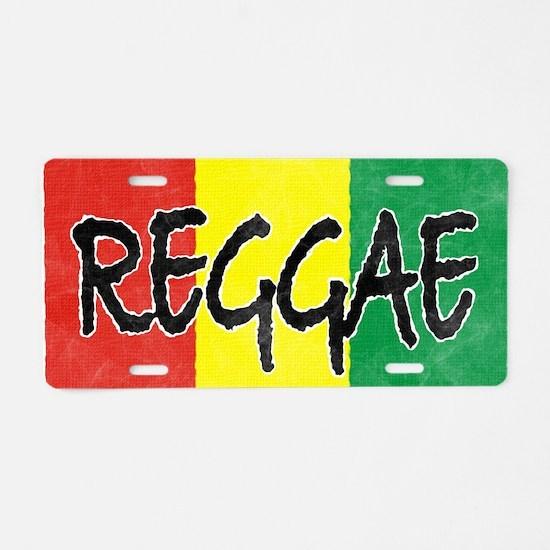 Reggae flag burlap crush-fa Aluminum License Plate