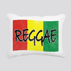 Reggae flag burlap crush Rectangular Canvas Pillow