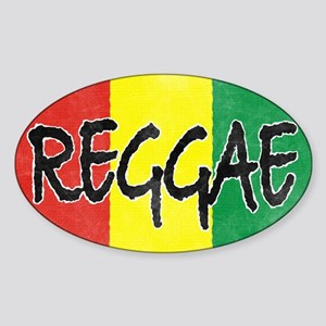 Reggae flag burlap crush-faded Sticker (Oval)