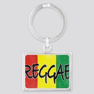 Reggae flag burlap crush-faded Landscape Keychain