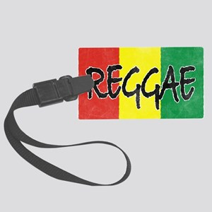 Reggae flag burlap crush-faded Large Luggage Tag