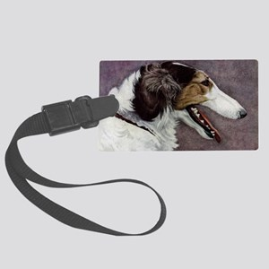 FIN-borzoi-painting-CROP Large Luggage Tag