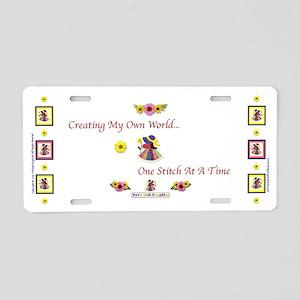 OneStitchAtATime1mug Aluminum License Plate