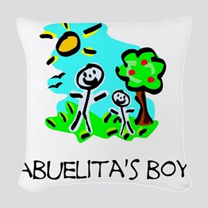 abuelitas boy stick figure Woven Throw Pillow