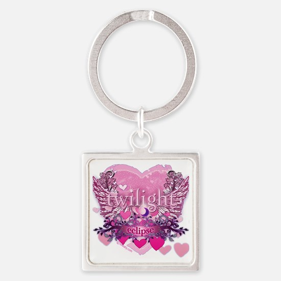 Twilight Eclipse Pink Wings Square Keychain