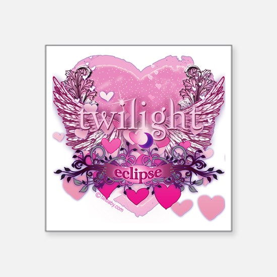 "Twilight Eclipse Pink Wings Square Sticker 3"" x 3"""