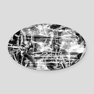 musicsilver B-W Oval Car Magnet