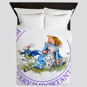 Alice Im late_MARAJA_PURPLE copy Queen Duvet