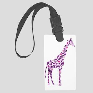 Purple Giraffe Large Luggage Tag