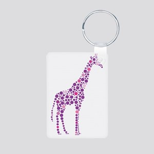 Purple Giraffe Aluminum Photo Keychain