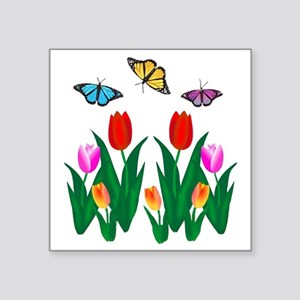 """BUTTERFLIES AND TULIPS Square Sticker 3"""" x 3"""""""