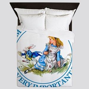 Alice Im late_MARAJA_BLUE copy Queen Duvet