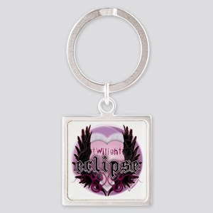 Twilight Eclipse Pink Heart Wings Square Keychain