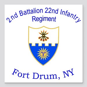 "2nd Bn 22nd  inf Square Car Magnet 3"" x 3"""