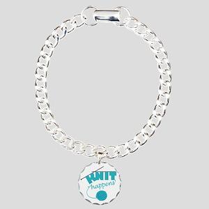 3-Knithappensedit Charm Bracelet, One Charm