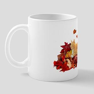 2-ORANGE TABBY ON LEAF PILE Mug