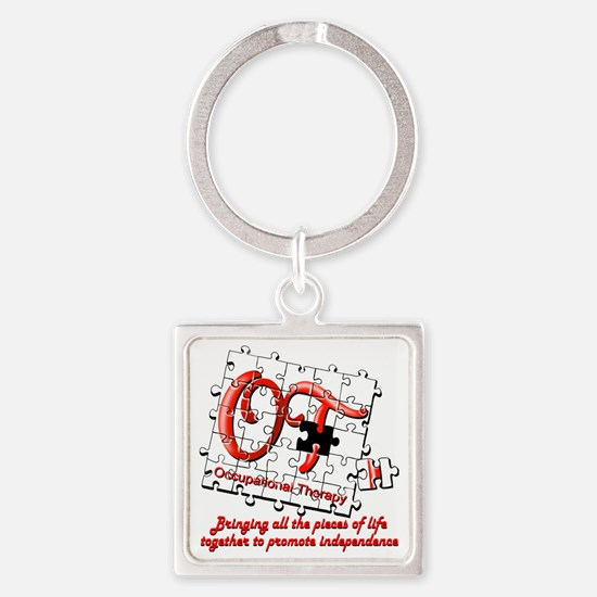 ot puzzle red Square Keychain