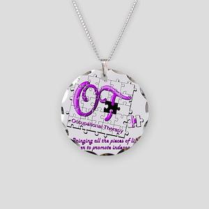 ot puzzle purple Necklace Circle Charm