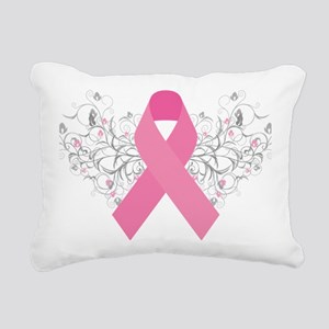 Pink Ribbon Abstract Des Rectangular Canvas Pillow