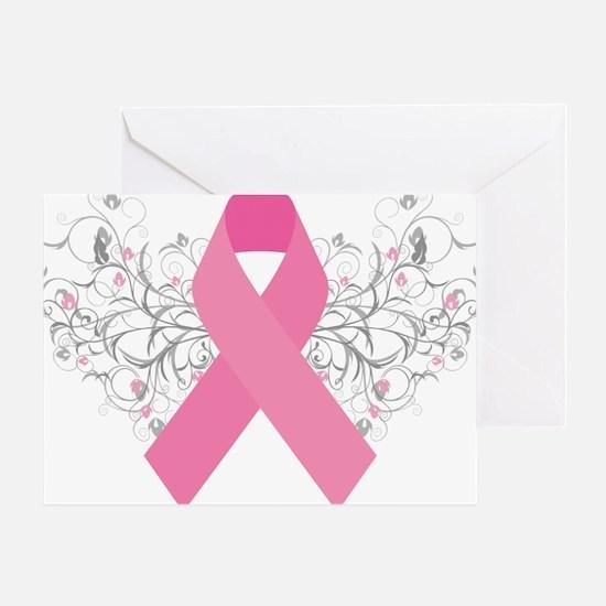 Pink Ribbon Abstract Design Greeting Card