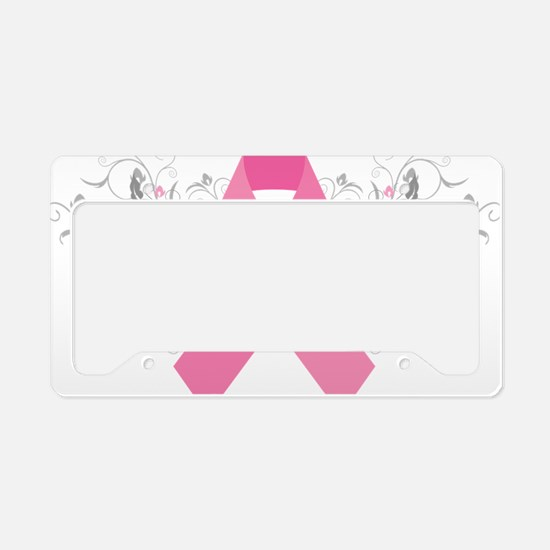 Pink Ribbon Abstract Design License Plate Holder