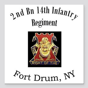 "2nd bn 14th Inf Square Car Magnet 3"" x 3"""
