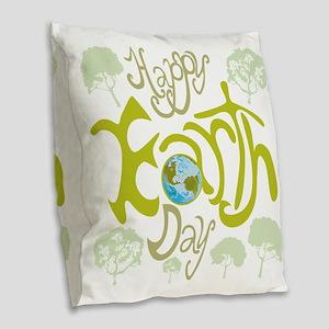happy_Earth_Dark Burlap Throw Pillow