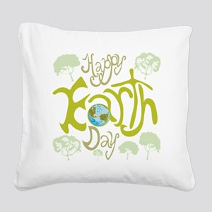 happy_Earth_Dark Square Canvas Pillow