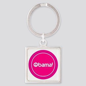 2-btn-obamapeace-pink Square Keychain