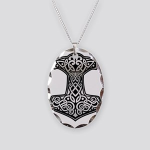 Thor__s_Hammer_chrome Necklace Oval Charm