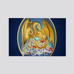 Big Gold Dragon and Globe Oval_mp Rectangle Magnet